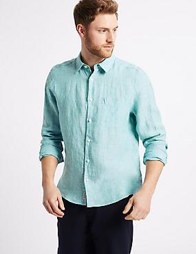 Pure Linen Shirt with Pocket, MINT, catlanding