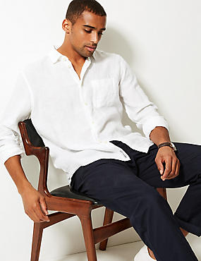 Pure Linen Shirt with Pocket, WHITE, catlanding