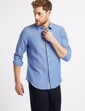 Pure Linen Slim Fit Shirt with Pocket, LIGHT BLUE, catlanding