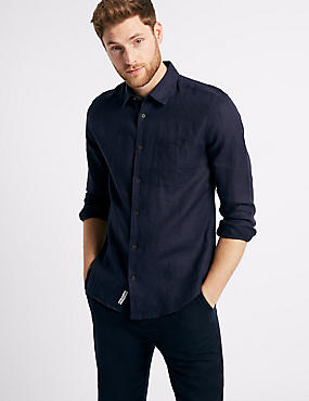 Pure Linen Slim Fit Shirt with Pocket, NAVY, catlanding