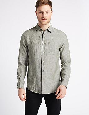 Pure Linen Slim Fit Shirt with Pocket, KHAKI, catlanding