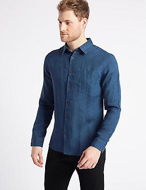 Pure Linen Slim Fit Shirt with Pocket, DARK BLUE DENIM, catlanding