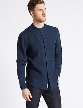 Pure Linen Striped Shirt with Pocket, DARK INDIGO, catlanding