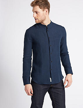 Pure Linen Slim Fit Striped Shirt with Pocket   , DARK INDIGO, catlanding