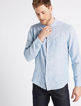 Pure Linen Striped Shirt with Pocket, CHAMBRAY, catlanding