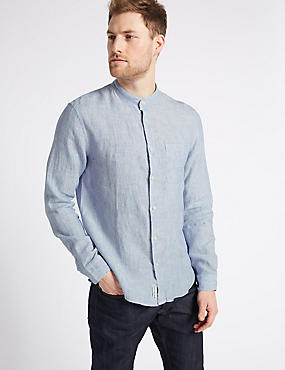 Pure Linen Slim Fit Shirt with Pocket, CHAMBRAY, catlanding
