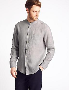 Pure Linen Shirt with Pocket, LIGHT GREY, catlanding