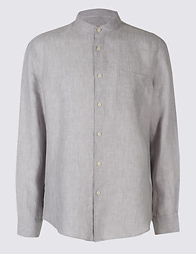 Easy to Iron Pure Linen Shirt with Pocket, LIGHT GREY, catlanding