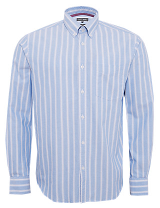 Pure Cotton Oxford Weave Striped Shirt Clothing