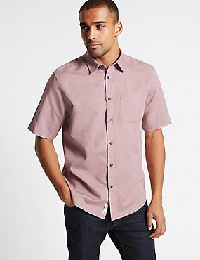 Linen Rich Shirt with Pocket, DUSKY PINK, catlanding