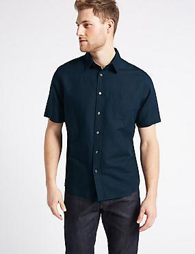 Linen Rich Shirt with Pocket, NAVY, catlanding