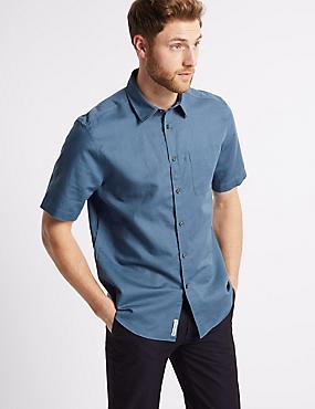 Linen Rich Shirt with Pocket, BLUE DENIM, catlanding