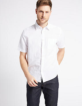 Linen Rich Shirt with Pocket, WHITE, catlanding