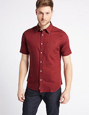 Linen Rich Slim Fit Shirt with Pocket, SUNSET, catlanding