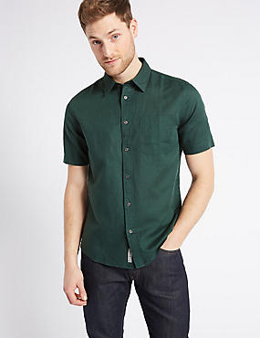 Linen Rich Slim Fit Shirt with Pocket, FOREST GREEN, catlanding