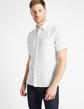 Linen Rich Slim Fit Shirt with Pocket, WHITE, catlanding