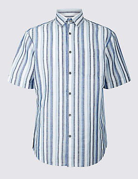 Easy to Iron Linen Rich Shirt with Pocket, BLUE MIX, catlanding