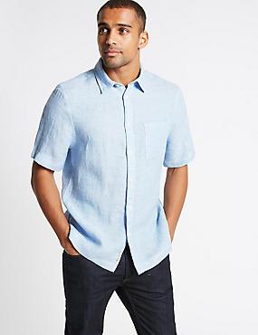 Pure Linen Textured Shirt with Pocket, LIGHT BLUE, catlanding