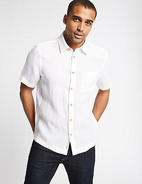 Pure Linen Textured Shirt with Pocket, WHITE MIX, catlanding