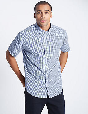 Big & Tall Pure Cotton Mini Gingham Shirt