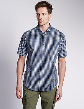 Pure Cotton Short Sleeve Gingham Shirt