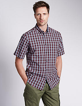 Pure Cotton Short Sleeve Multi Checked Shirt
