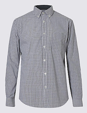 Pure Cotton Grid Check Shirt with Pocket
