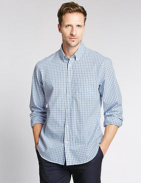 Pure Cotton Grid Checked Shirt