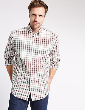 Long Sleeve Pure Cotton Checked Shirt