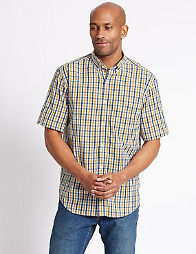 Pure Cotton Gingham Shirt with Pocket