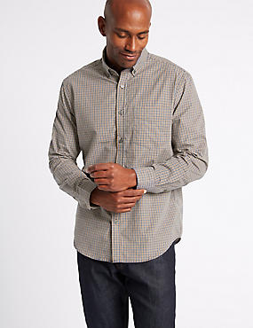 Soft Touch Pure Cotton Checked Shirt, AMBER MIX, catlanding