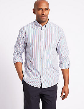 Pure Cotton Striped Shirt with Pocket, MAGENTA MIX, catlanding