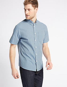 Pure Cotton Checked Shirt with Pocket, SMOKEY BLUE, catlanding