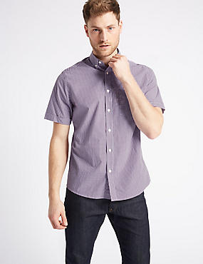 Pure Cotton Checked Shirt with Pocket, MAGENTA MIX, catlanding