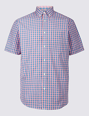 Pure Cotton Checked Shirt with Pocket, PINK, catlanding