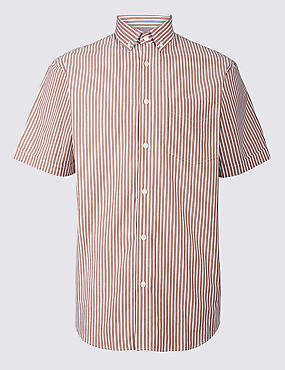Pure Cotton Striped Shirt with Pocket, CORAL, catlanding
