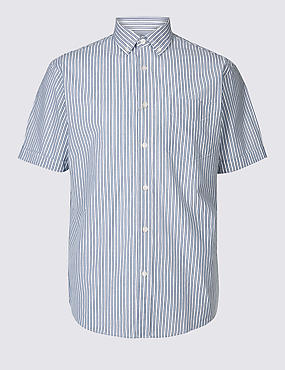 Pure Cotton Striped Shirt with Pocket, ICE BLUE, catlanding