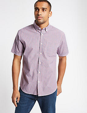 Pure Cotton Checked Shirt with Pocket, BRIGHT PINK, catlanding