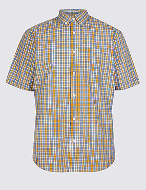 Pure Cotton Checked Shirt, AMBER MIX, catlanding