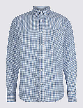 Pure Cotton Checked Shirt with Pocket, BLUE MIX, catlanding