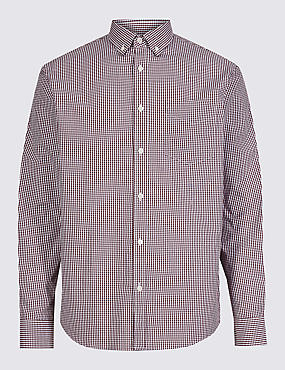 Pure Cotton Checked Shirt with Pocket, RUSSET, catlanding