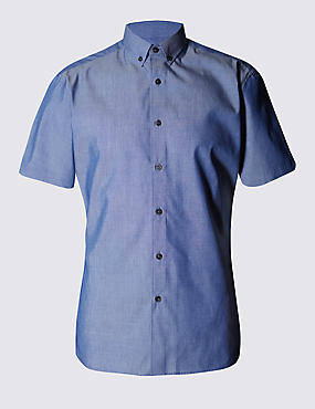 Short Sleeve Tailored Fit Chambray Shirt