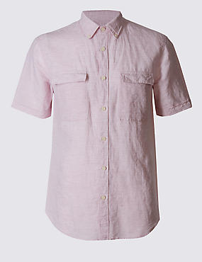 Linen Rich Slim Fit Shirt with Pockets