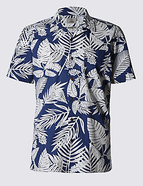 Pure Cotton Tailored Fit Palm Floral Shirt