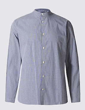 Long Sleeve Gingham Grandad Collar Shirt