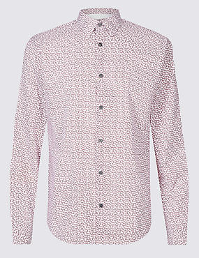 Pure Cotton Slim Fit Paisley Print Shirt