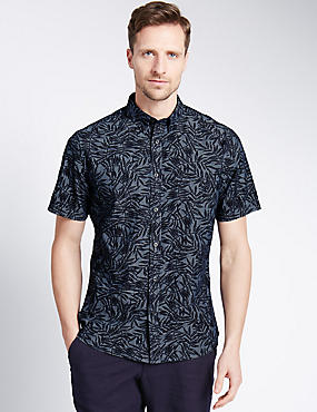 Pure Cotton Tailored Fit Palm Print Shirt