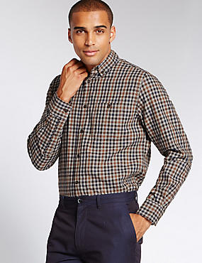Pure Cotton Tailored Fit Gingham Shirt