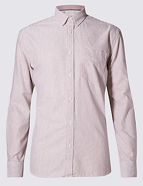 Pure Cotton Tailored Fit Striped Oxford Shirt