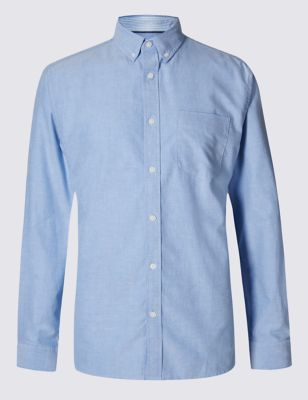 Blue Pure Cotton Oxford Shirt with Pocket Outfit